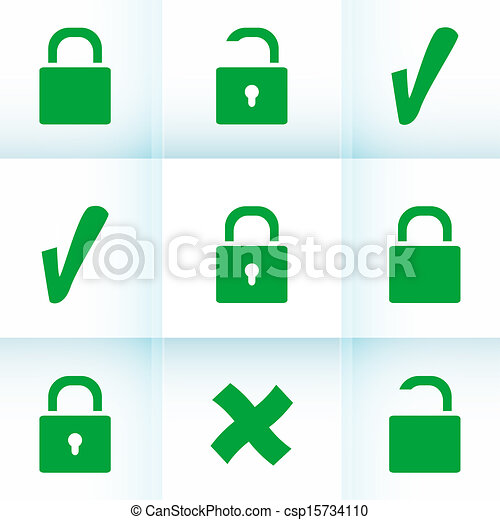 Security concept: Lock set on digital screen, data protection - csp15734110