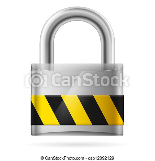 Security concept with locked  pad lock - csp12092129