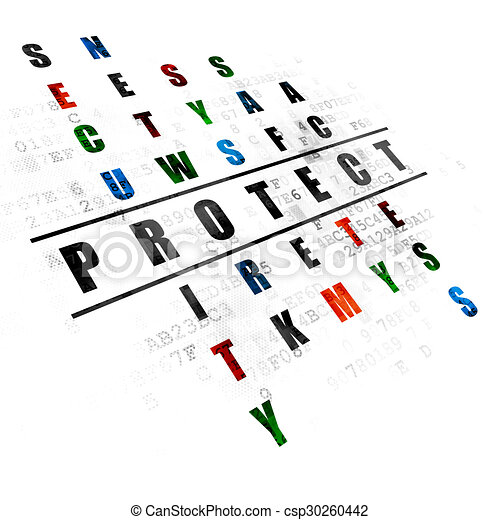 Security concept: word Protect in solving Crossword Puzzle - csp30260442