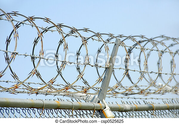 Security Fence Chain Link Security Fence With Razor Wire Canstock