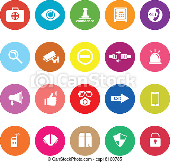 Security flat icons on white background - csp18160785