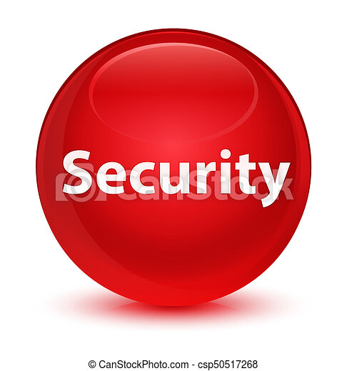 Security glassy red round button - csp50517268