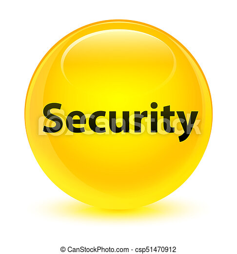 Security glassy yellow round button - csp51470912
