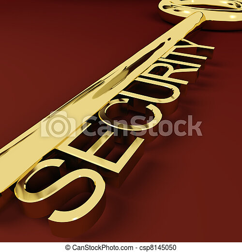 Security Gold Key Representing Safety And Protection - csp8145050
