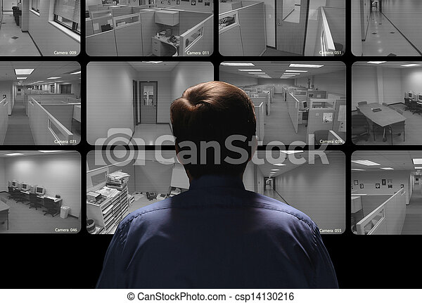 Security guard conducting surveillance by watching several security monitors - csp14130216