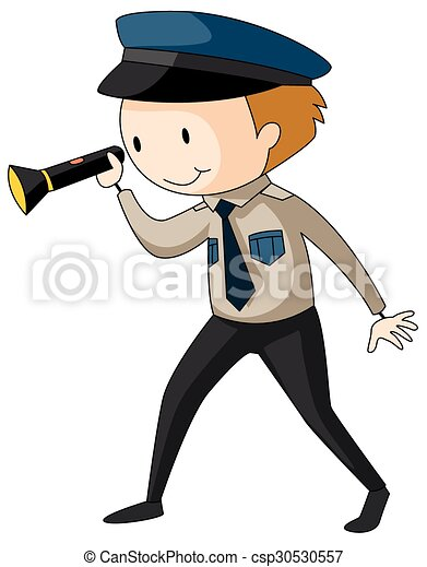 Security guard holding flashlight - csp30530557