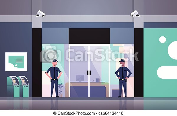 Security Guard Men Working At Entrance Door Business Building Exterior Cctv Surveillance Camera Equipment Mix Race Colleagues Canstock