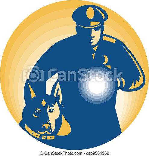 Security Guard Policeman Police Dog - csp9564362