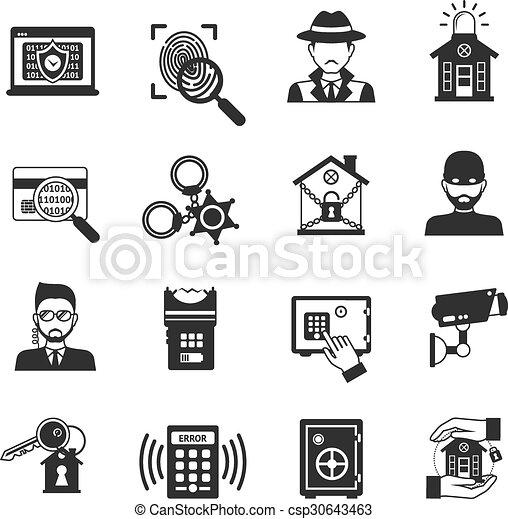 Security Icons Black Set - csp30643463