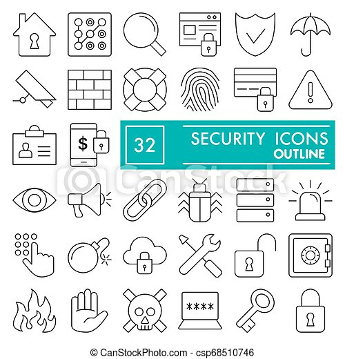 Security line icon set, safety symbols collection, vector sketches, logo illustrations, protection signs linear pictograms package isolated on white background, eps 10. - csp68510746