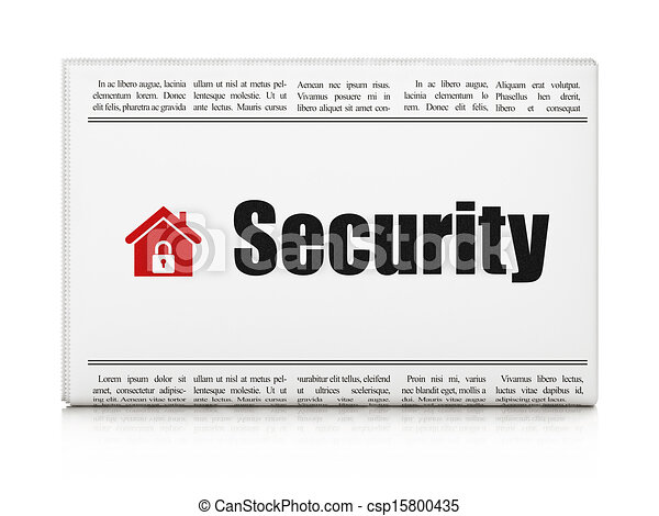 Security news concept: newspaper with Security and Home - csp15800435