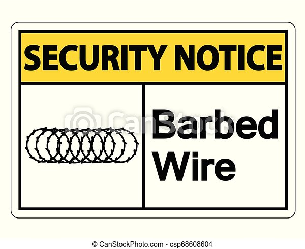 Security notice Barbed Wire Symbol Sign on white background - csp68608604
