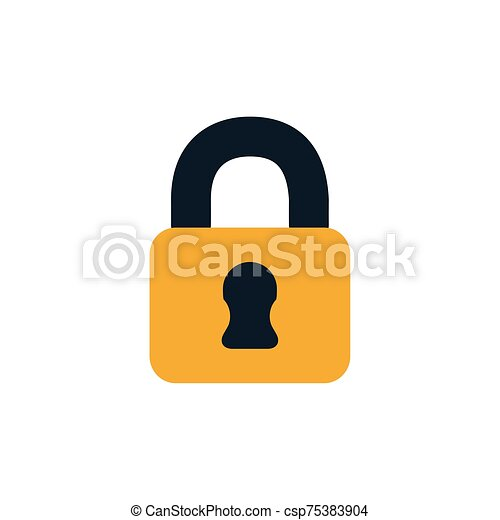 security padlock closed flat style icon - csp75383904