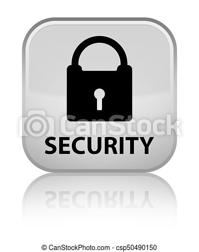 Security (padlock icon) special white square button - csp50490150