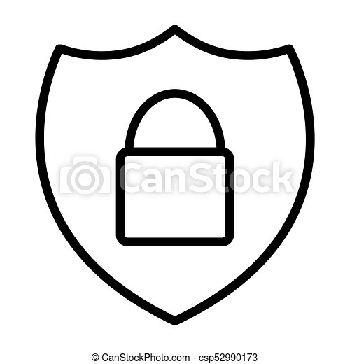 Security Shield With Lock Pixel Perfect Vector Thin Line Icon 48x48. Simple Minimal Pictogram - csp52990173