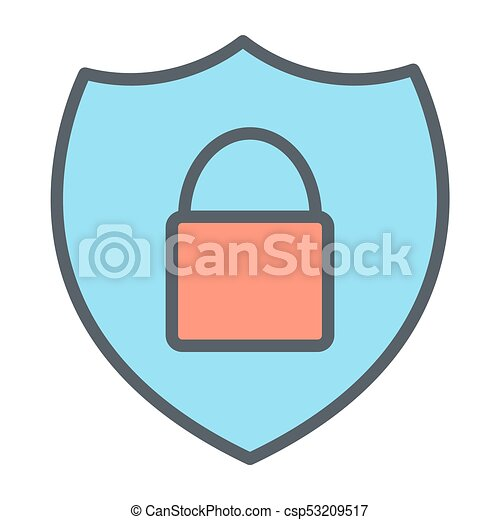 Security Shield With Lock Pixel Perfect Vector Thin Line Icon 48x48. Simple Minimal Pictogram - csp53209517