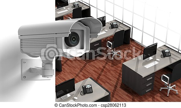 Security surveillance camera on wall inside the office - csp28062113