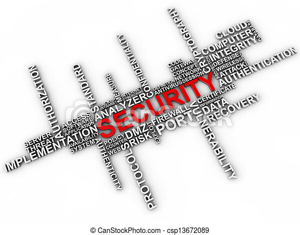 Security word cloud over white background - csp13672089