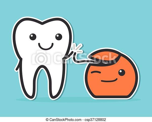 Dientes y hilo dental - csp37128802