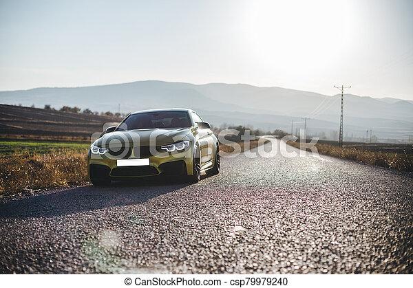 Sedan cars parking on the road under the sunlight - csp79979240
