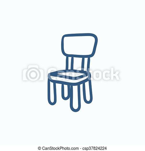 sedia, icon., schizzo, bambini