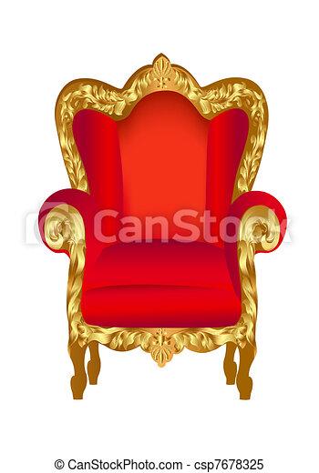 sedia, vecchio, rosso, oro - csp7678325