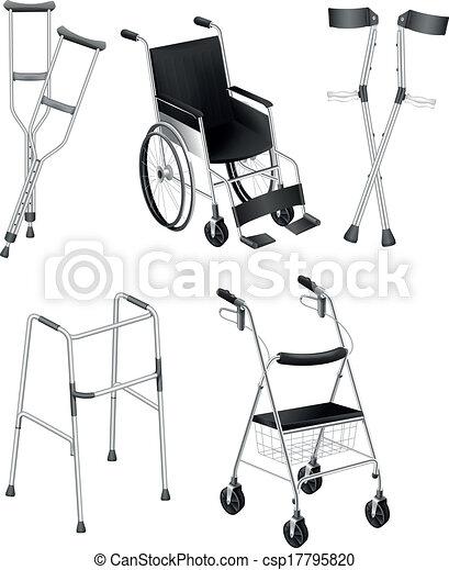 sedie rotelle, crutches - csp17795820