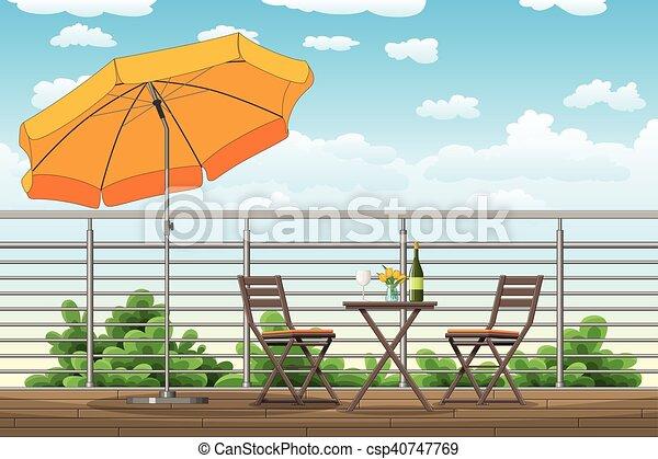 Sedie, tavoli, balcone, terrazzo, illustrazione.