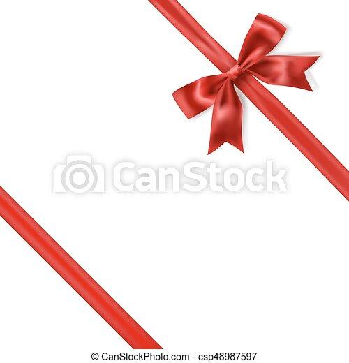 Lazo de lazo de seda roja sobre fondo blanco. Vector - csp48987597