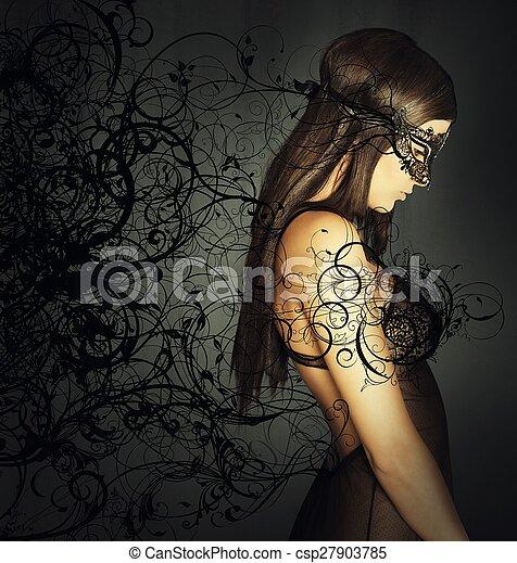 seducente, maschera, donna - csp27903785