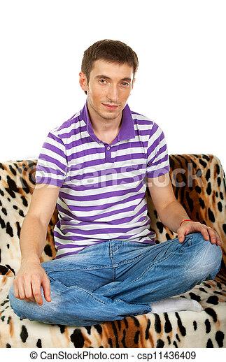 seduta, divano, ritratto, sorridente, tipo, contento, felice - csp11436409