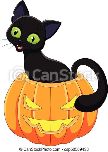 Zucca Halloween Gatto.Seduta Halloween Gatto Nero Cartone Animato Zucca