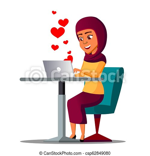 seduta, laptop, volare, illustrazione, arabo, vector., cuori, ragazza, fuori - csp62849080