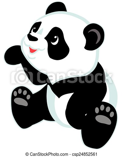 seduta, panda, cartone animato - csp24852561