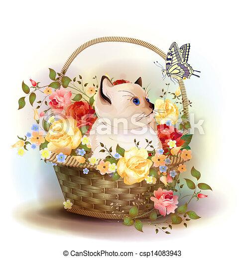seduta, siamese, illustrazione, roses., gattino, cesto - csp14083943