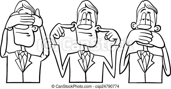 See Hear Speak No Evil Black And White Cartoon Humor Concept Illustration Of See No Evil Hear No Evil Speak No Evil Saying