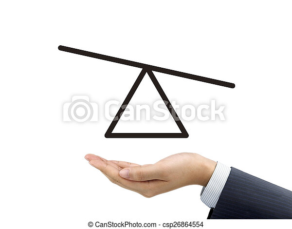 Seesaw Diagram Holding By Businessman S Hand Over White Background