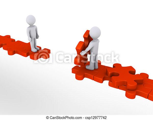 segítség, ajánlat, rejtvény, személy, másik, út - csp12977742