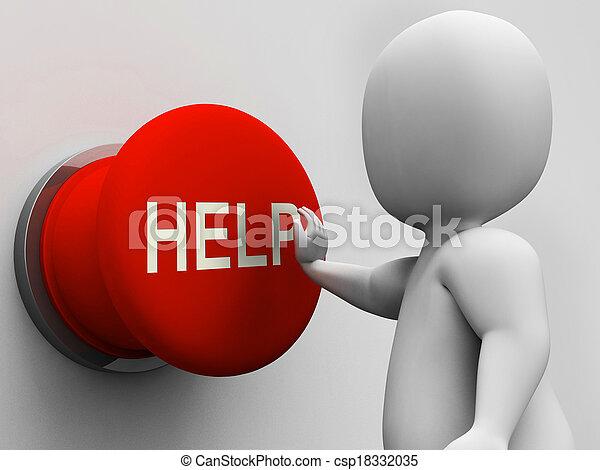 segítség gombolódik, segítség, segély, eltart, látszik - csp18332035