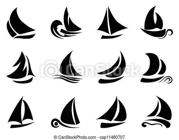 Segelboot zeichnung schwarz  Segelboot, symbol, design, hintergrund, schwarz, weißes Vektor ...