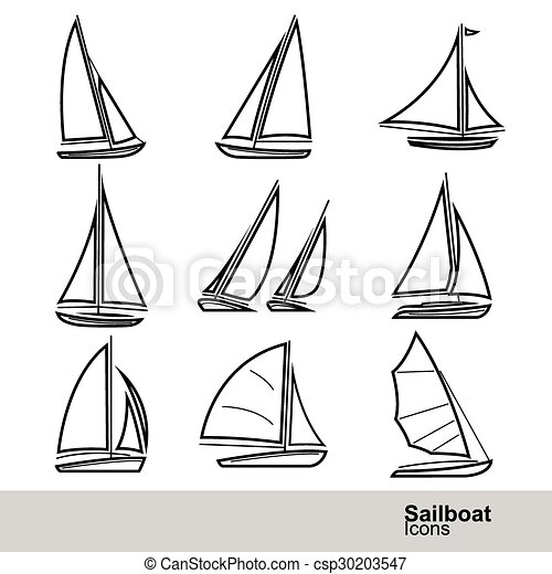 Segelboot zeichnung  Segelboot, vektor. Satz, segelboot, abbildung, linie, ikone EPS ...