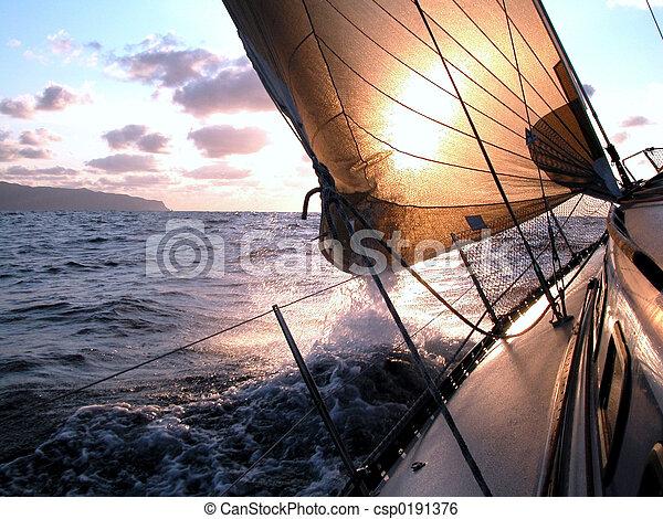 segeln, sonnenaufgang - csp0191376