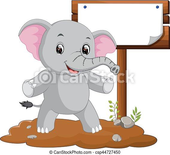 segno bianco, cartone animato, elefante - csp44727450