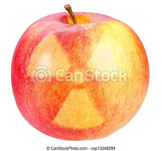 segno, pericolo, nucleare, mela, rosso - csp13348284
