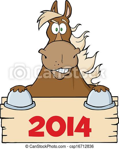segno, sopra, cavallo, marrone, vuoto - csp16712836
