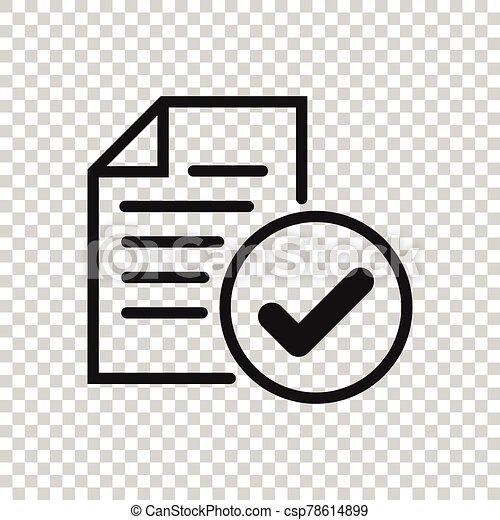 segno spunta, affari, accordo, approvato, autorizzare, illustrazione, vettore, concept., style., bianco, appartamento, fondo., icona, documento, isolato - csp78614899