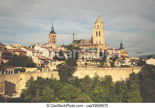 Segovia, Spain. Panoramic view of the historic city of Segovia skyline with Catedral de Santa Maria de Segovia, Castilla y Leon. - csp33626670