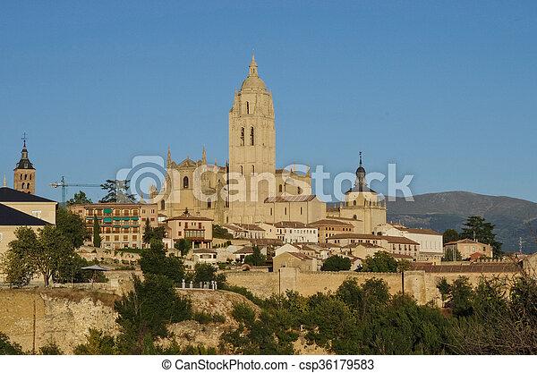 Segovia, Spain. Panoramic view of the historic city of Segovia skyline with Catedral de Santa Maria de Segovia, Castilla y Leon. - csp36179583