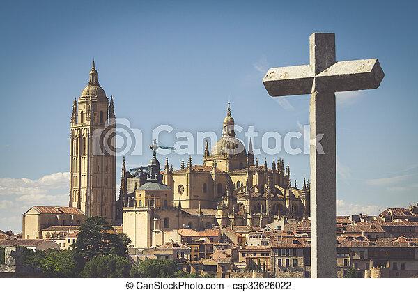 Segovia, Spain. Panoramic view of the historic city of Segovia skyline with Catedral de Santa Maria de Segovia, Castilla y Leon. - csp33626022