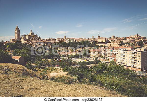 Segovia, Spain. Panoramic view of the historic city of Segovia skyline with Catedral de Santa Maria de Segovia, Castilla y Leon. - csp33626137